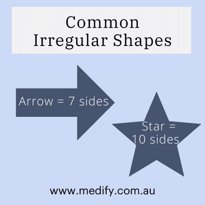 Common irregular shapes: arrow (7 sides), star (10 sides)