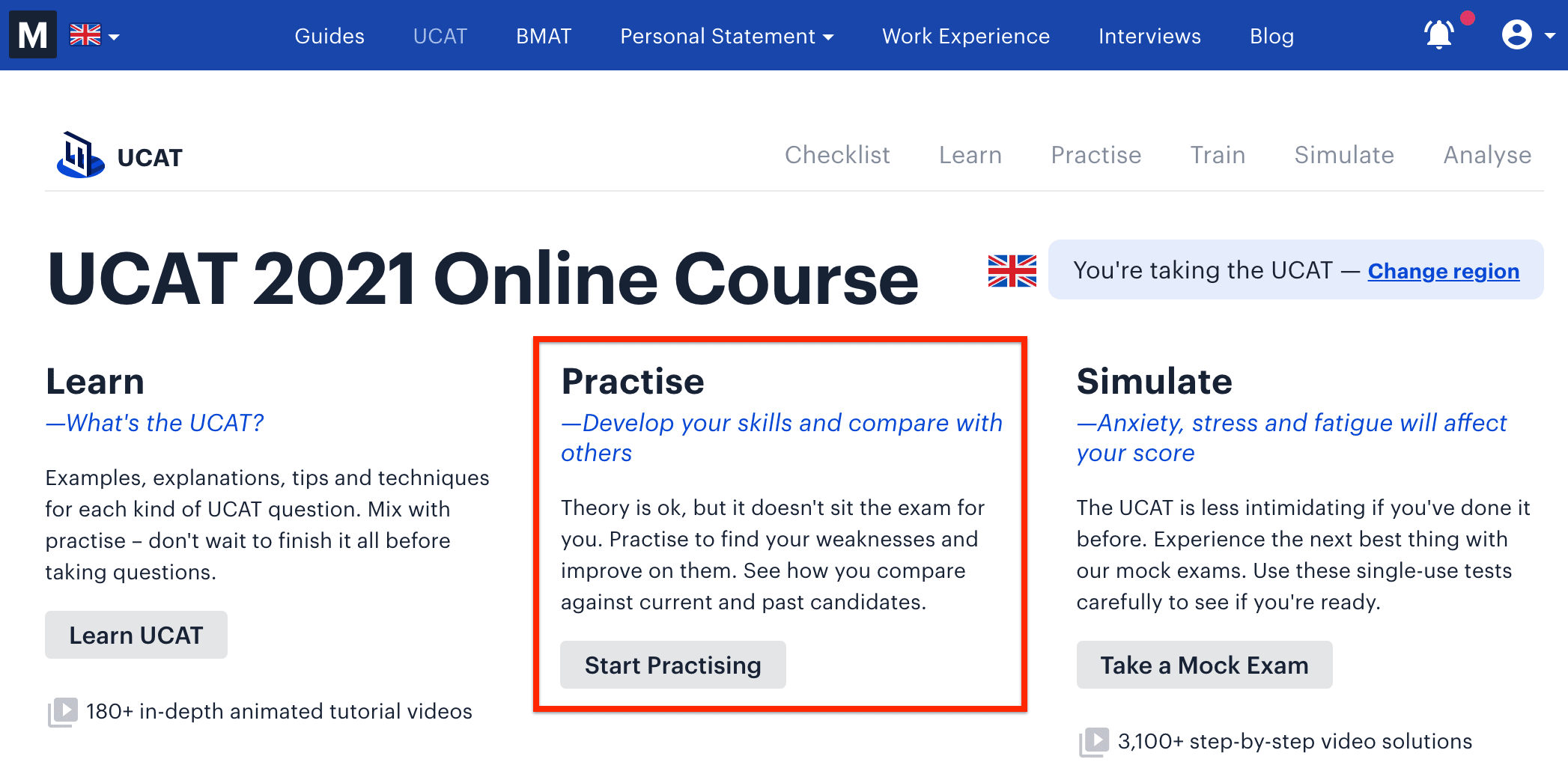 A screenshot of Medify's UCAT ANZ course showing the 'Start Practising' link.
