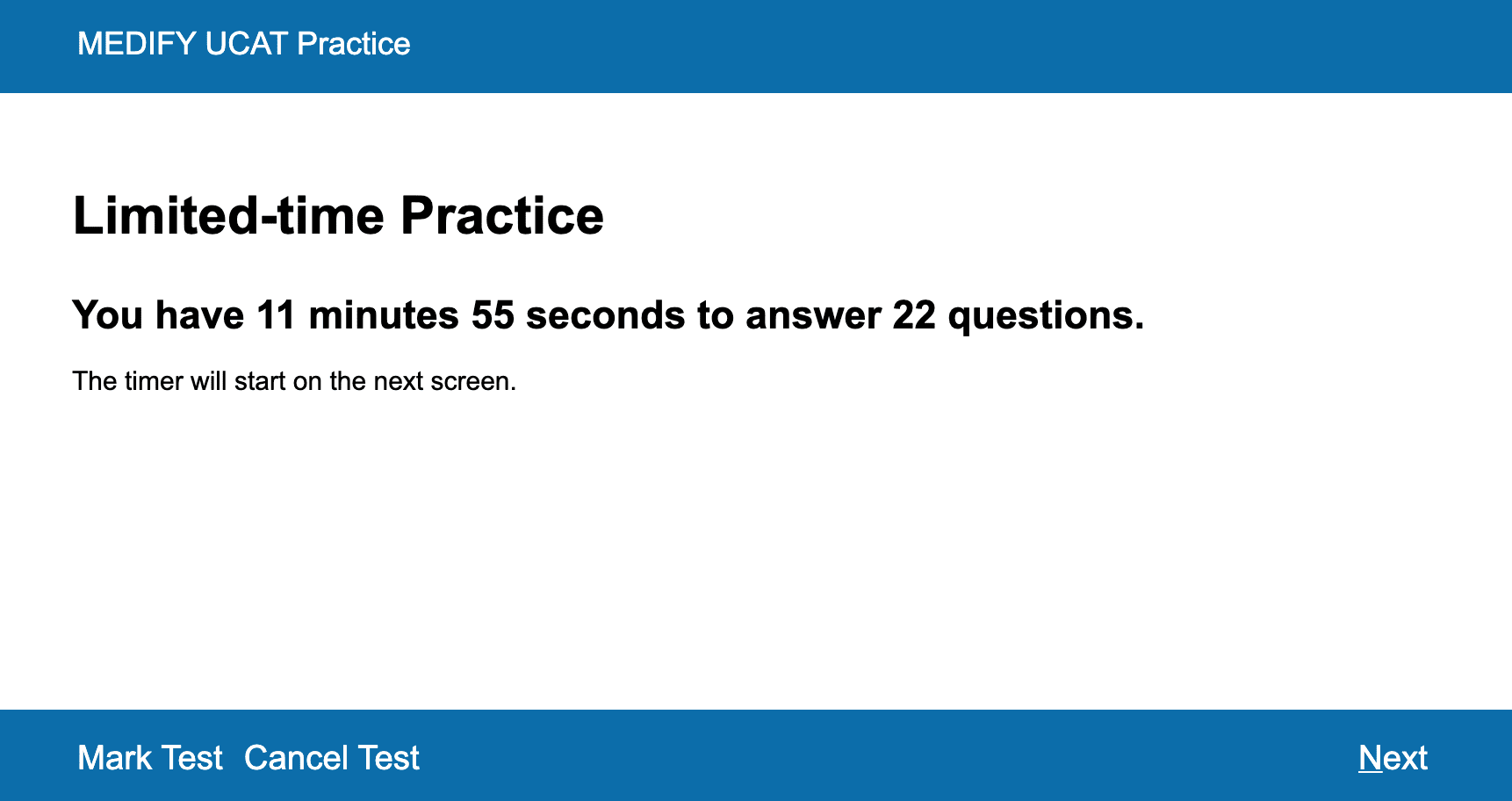 A screenshot of Medify's UCAT ANZ course showing the start of a practice session.