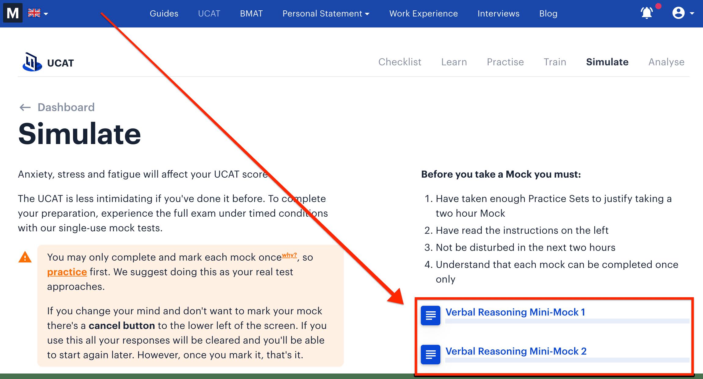 Screenshot of Medify's online UCAT course