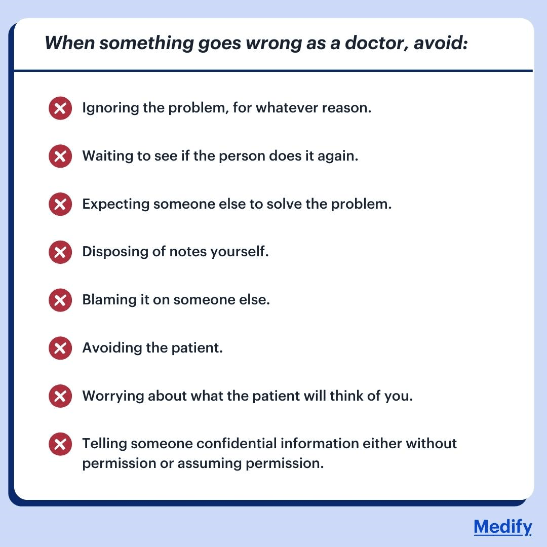 What not to do when something goes wrong as a doctor. Infographic.