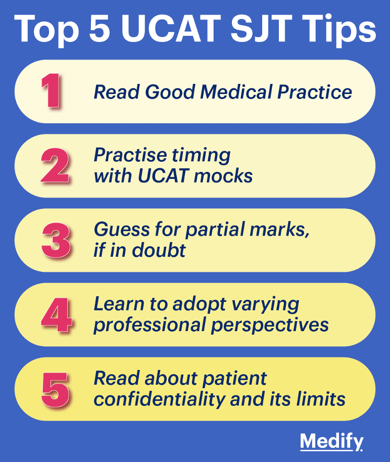 Top 5 UCAT Situational Judgement Test (SJT) section tips infographic.