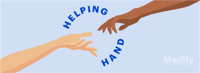 A person's hand reaching out to another person's hand, with text: 'Helping Hand'