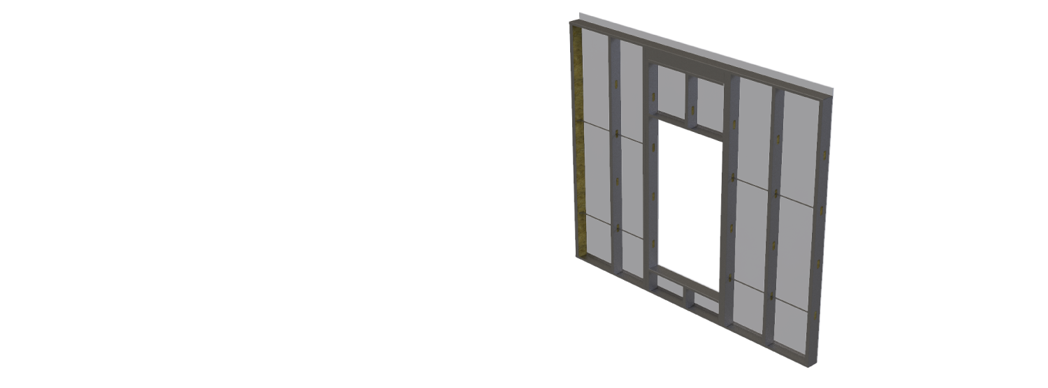 technical drawing of All Steel Mid-Rise cold formed steel wall panel