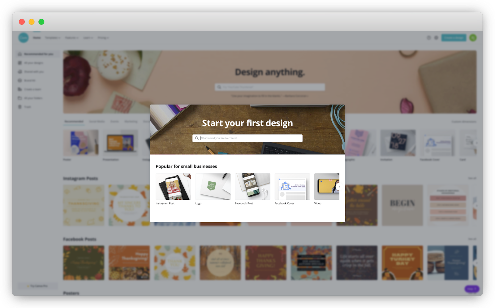 Canva user onboarding experience