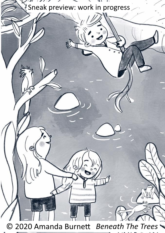 Beneath The Trees illustration by Amanda Burnett; Book by Cristy Burne