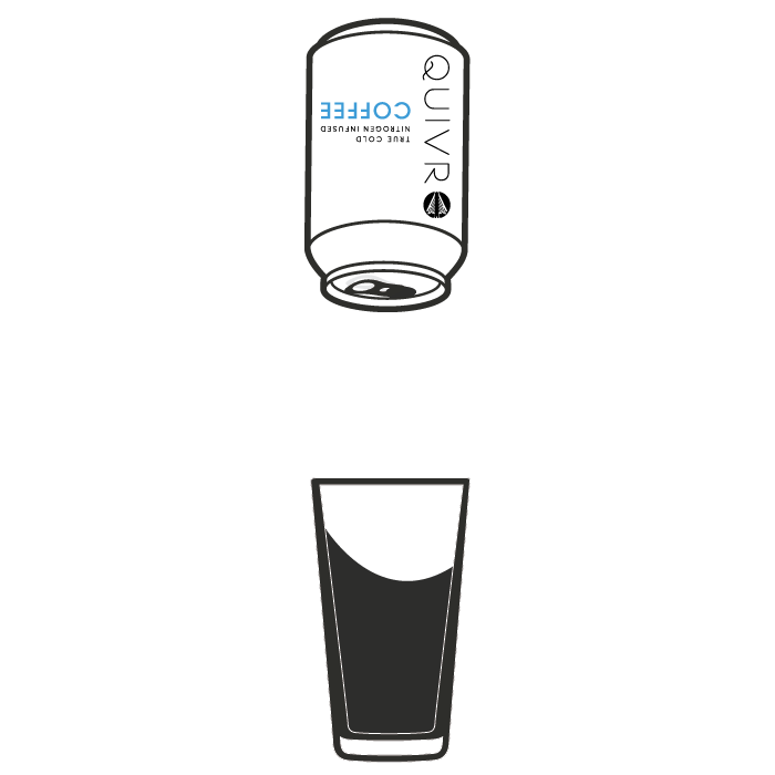 An animation of a Quivr can being poured