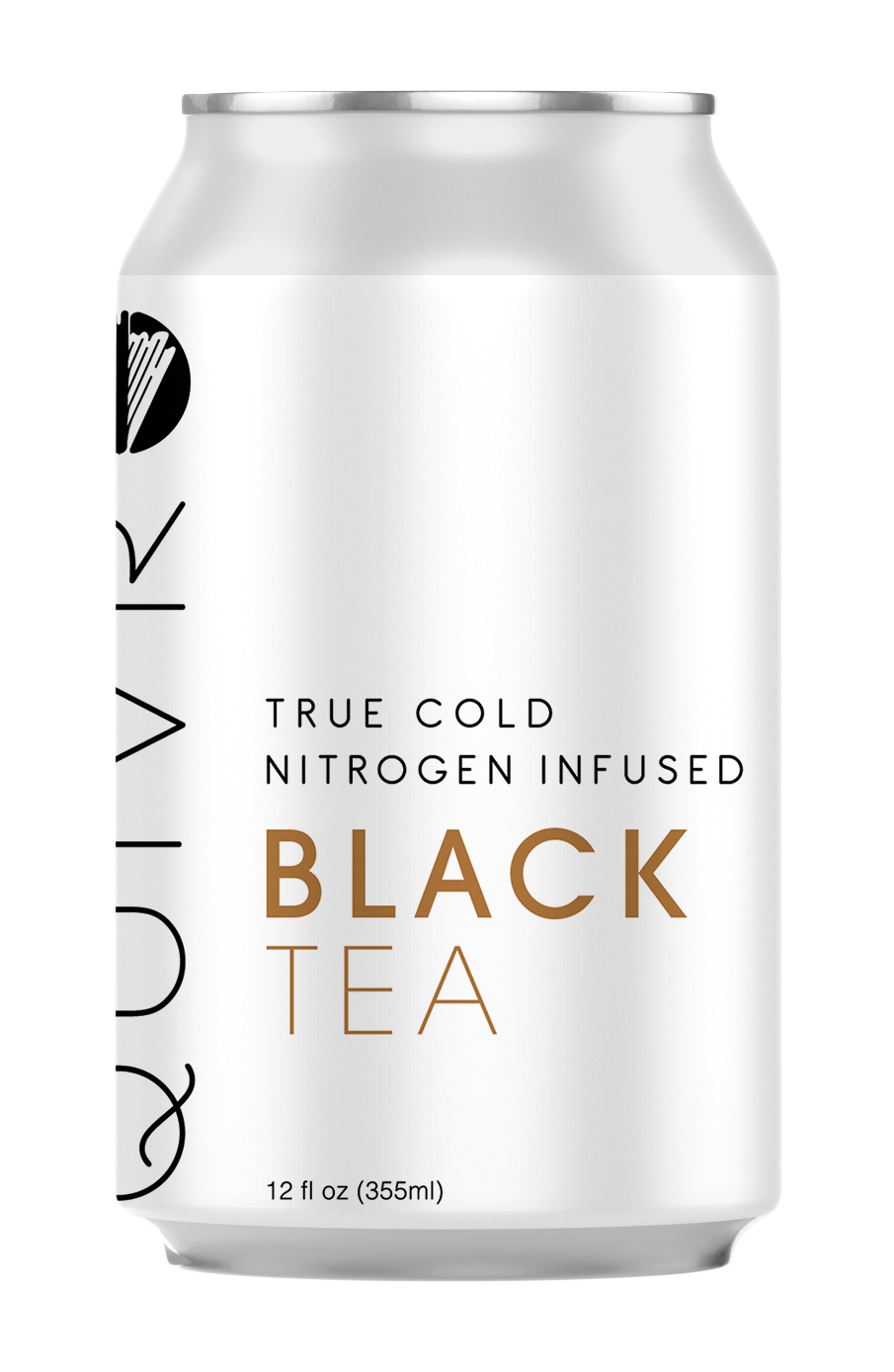 A Quivr Black Tea can showing the flavor name