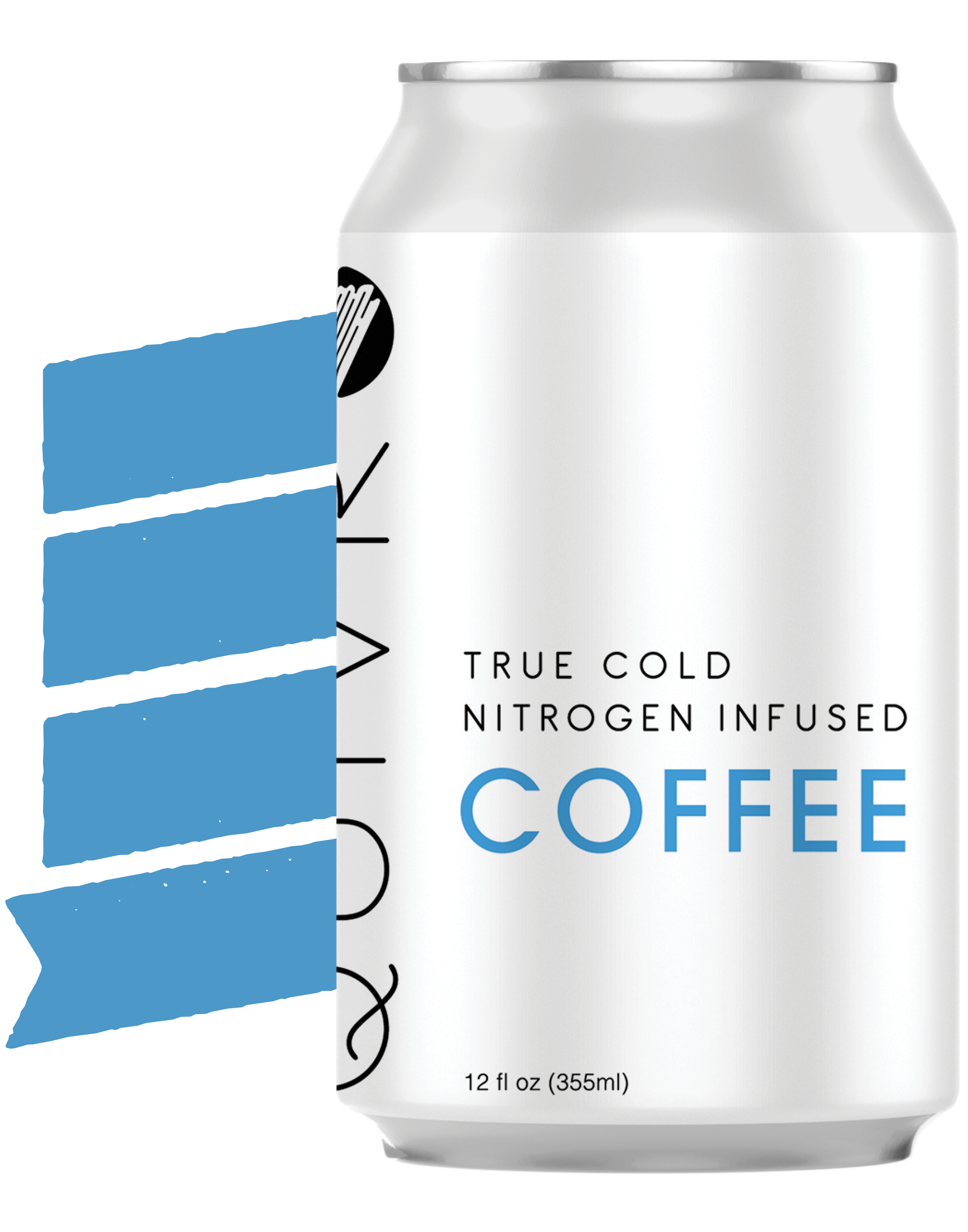 A Quivr coffee can in front of a banner.