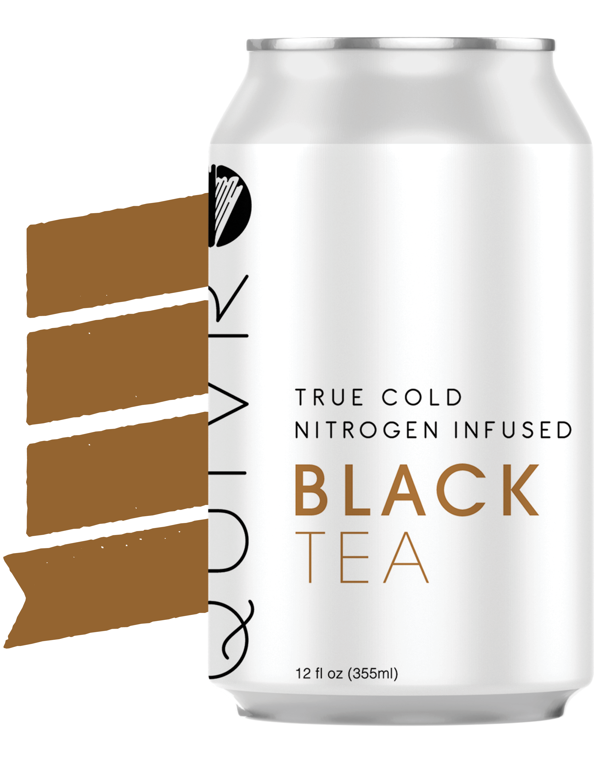 a Quivr Black Tea can in front of a banner.