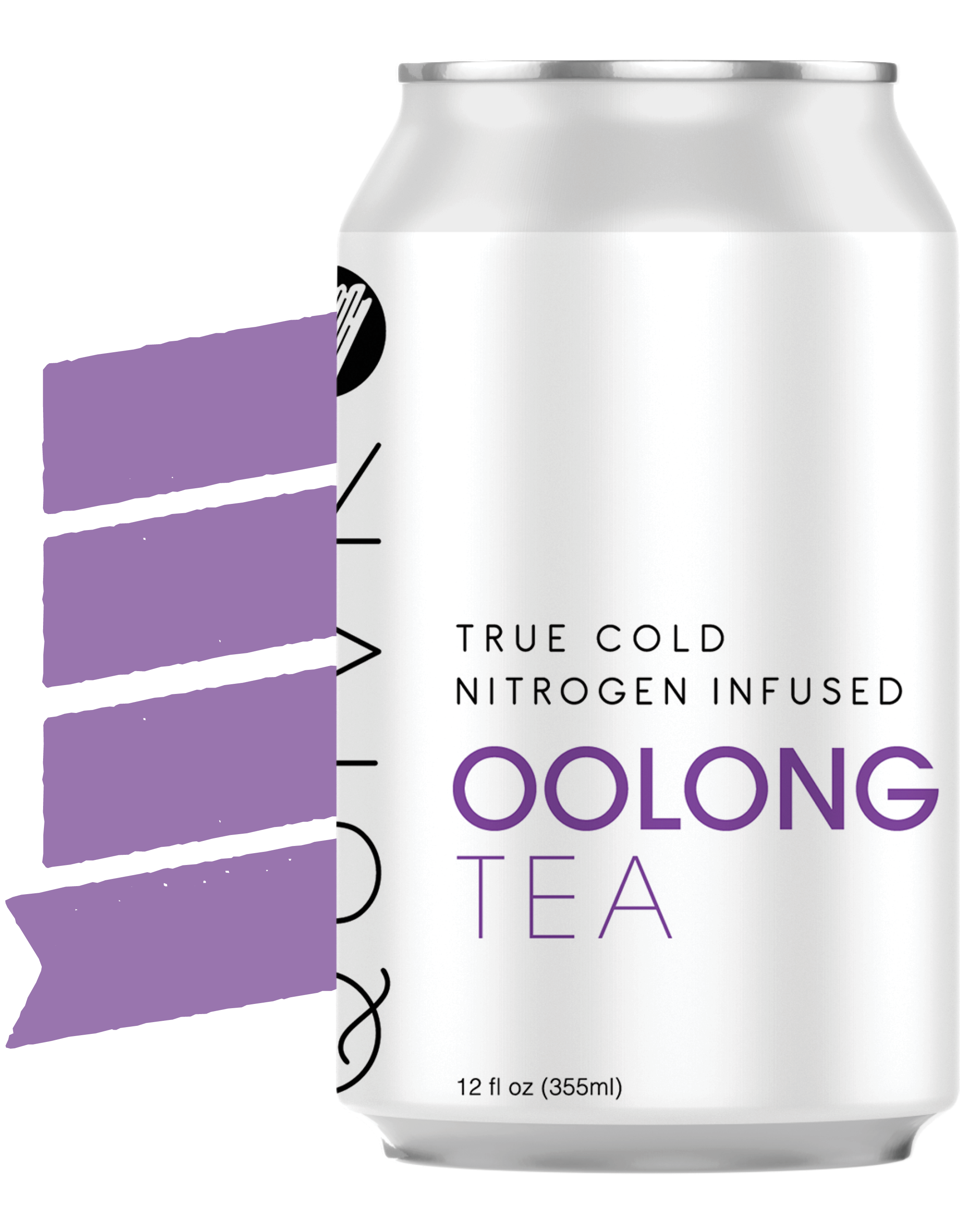 A Quivr Oolong Tea can in front of a banner.