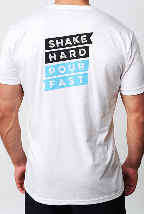 A man wearing the Quivr Unisex White Shake Hard Pour Fast Tee.