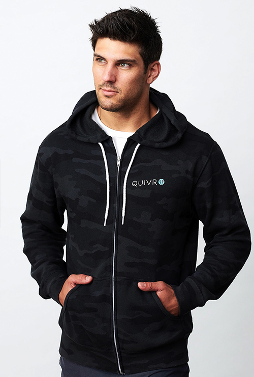A man wearing the Quivr Unisex Camouflage Hoodie.