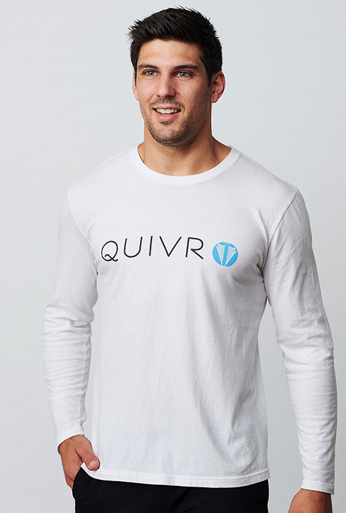 A man wearing the Quivr Unisex Arrow Long Sleeve shirt.