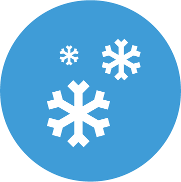 An icon of a snowflake in a blue circle.
