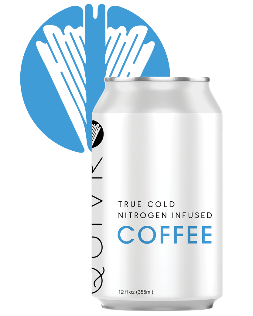 A Quivr Coffee can in front of a Quivr logo.
