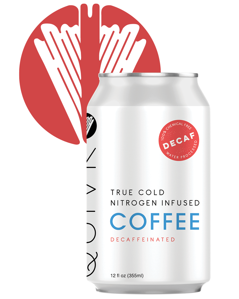 A Quivr Decaf Coffee can in front of a Quivr logo.