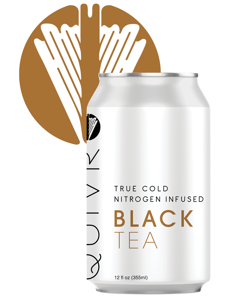A Quivr Black Tea can in front of a Quivr logo.
