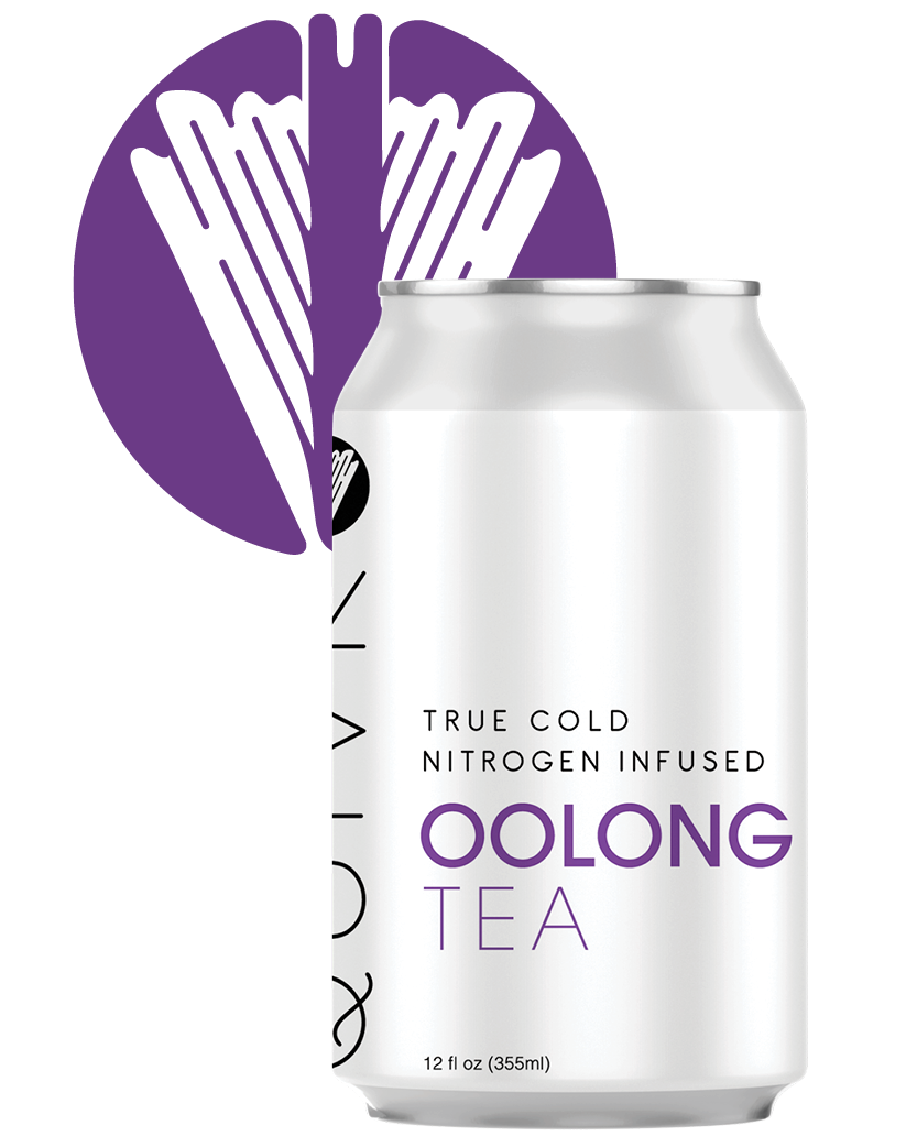 A Quivr Oolong Tea can in front of a Quivr logo.