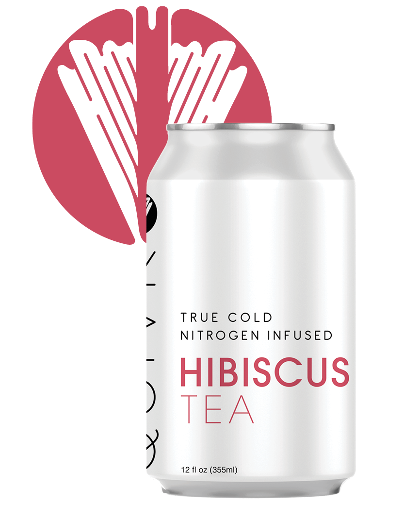 A Quivr Hibiscus Ginger Tea can in front of a Quivr logo.