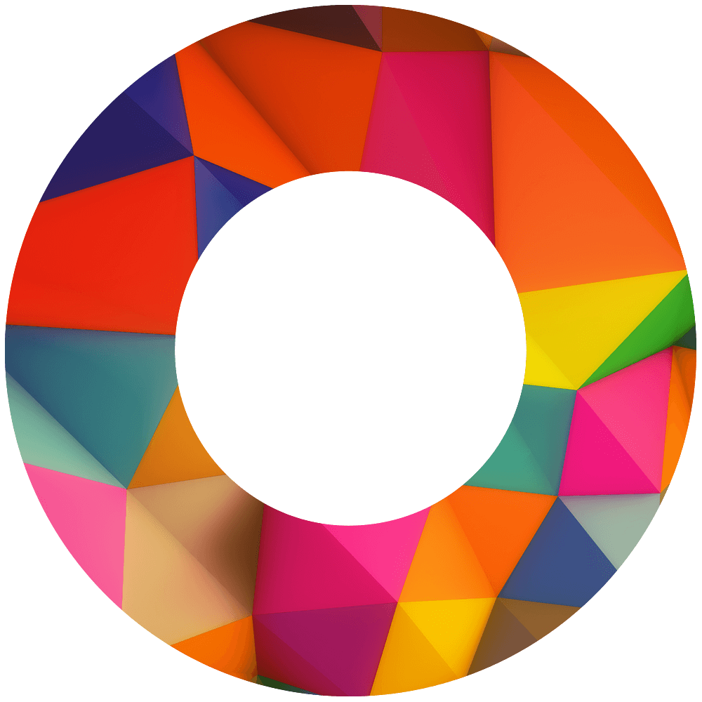 A circle with a colorful geometric pattern inside