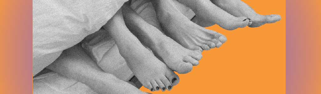 three pairs of feet peeking out from under the coves representing open relationships