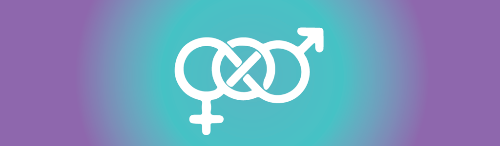 "interconnected man and women symbols representing the question ""am I bisexual?"""