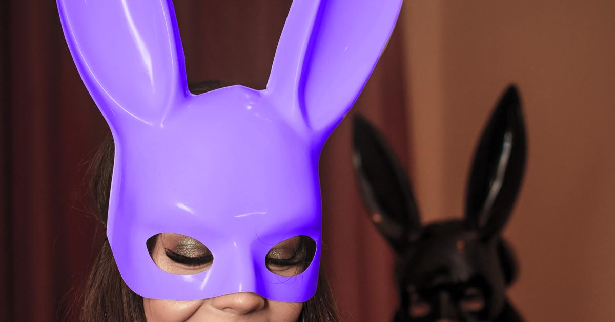 couple wearing bunny masks