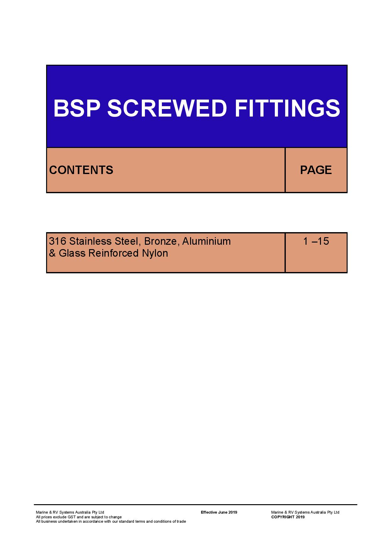 Section 1 BSP Screwed Fittings June 2019
