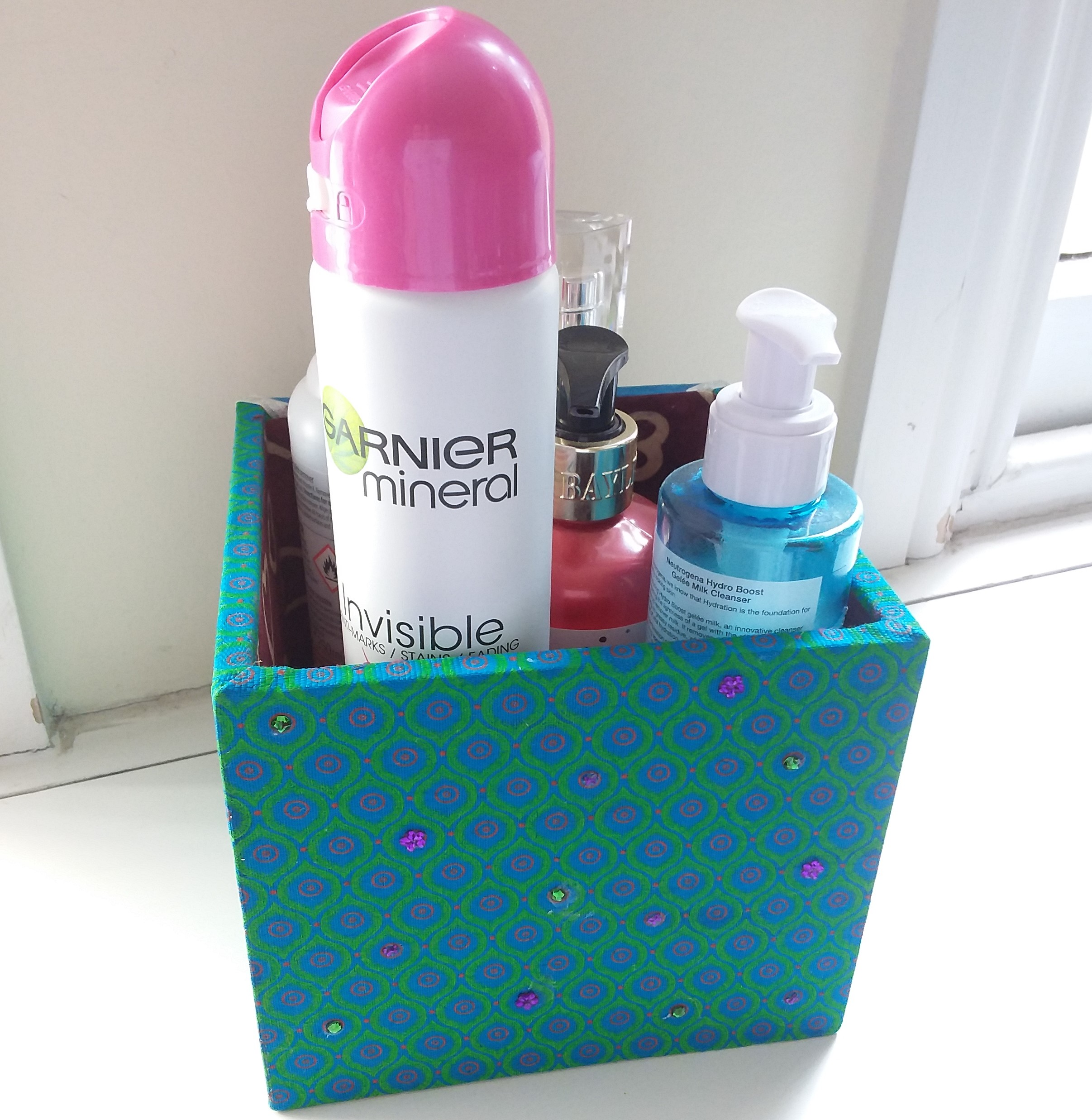 Storage / Organising Box - fabric green-blue