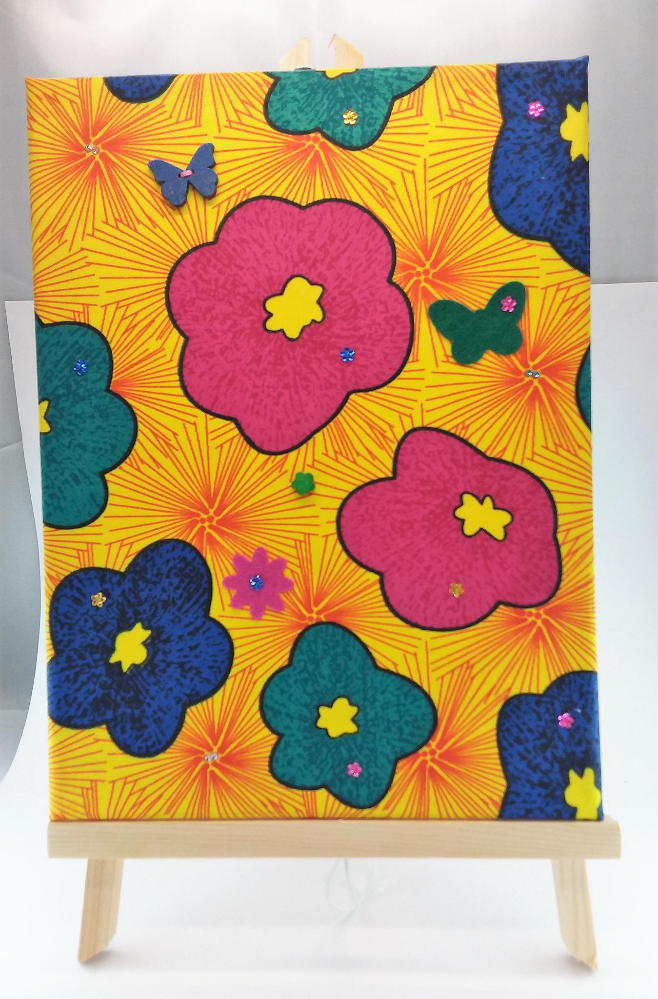 Wall-art Fabric decorated – Big fucsia flowers
