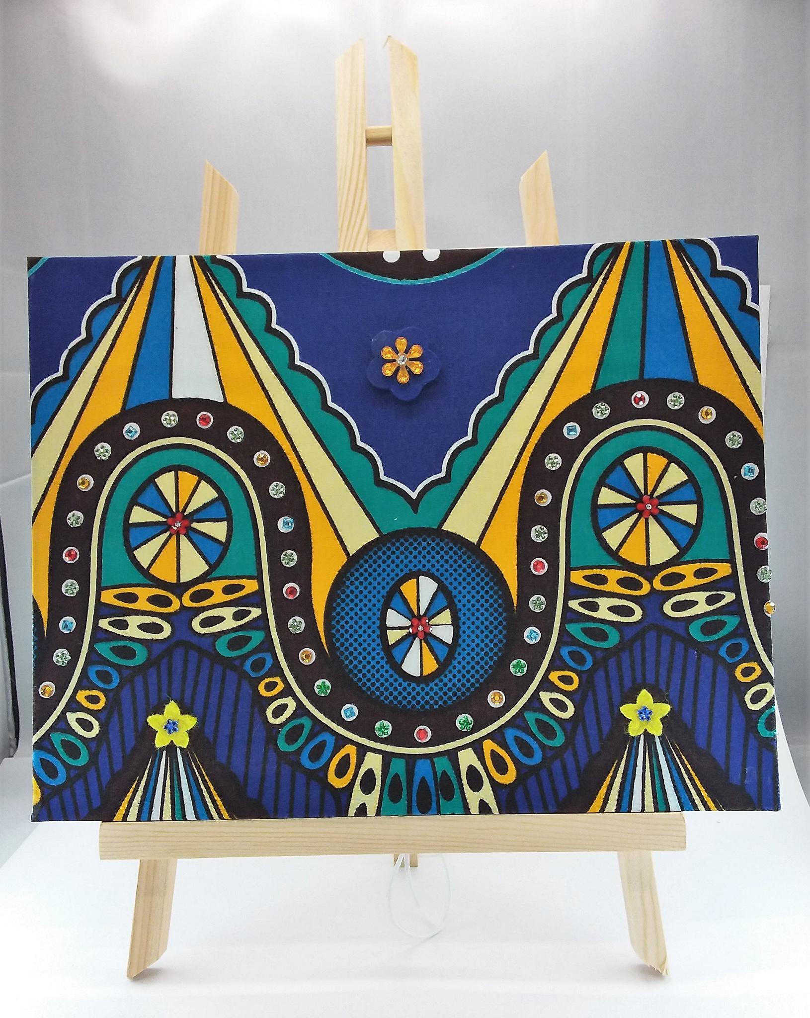 Wall-art Fabric decorated – Big blue rollercoaster