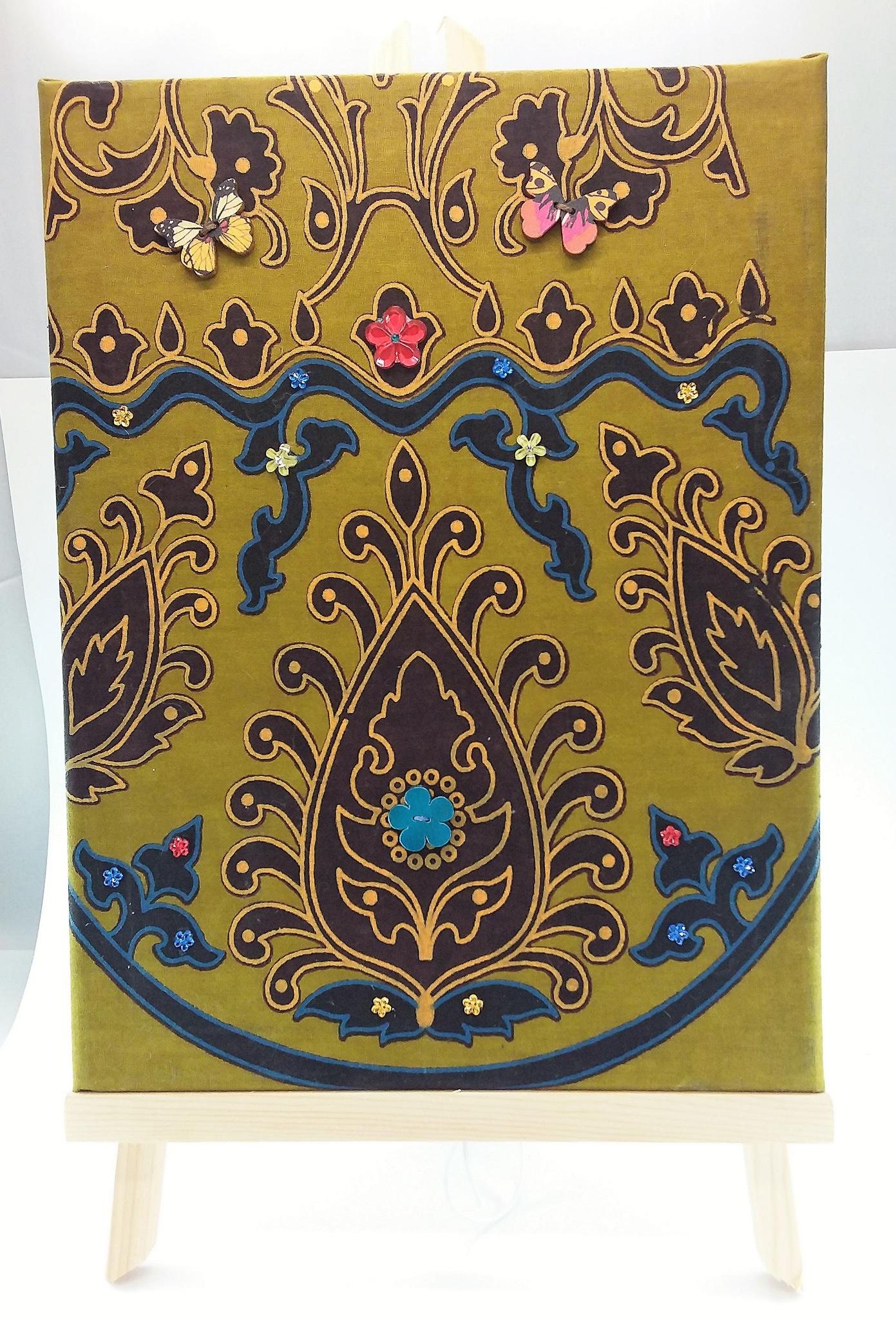 Wall-art Fabric decorated – Big royal brown