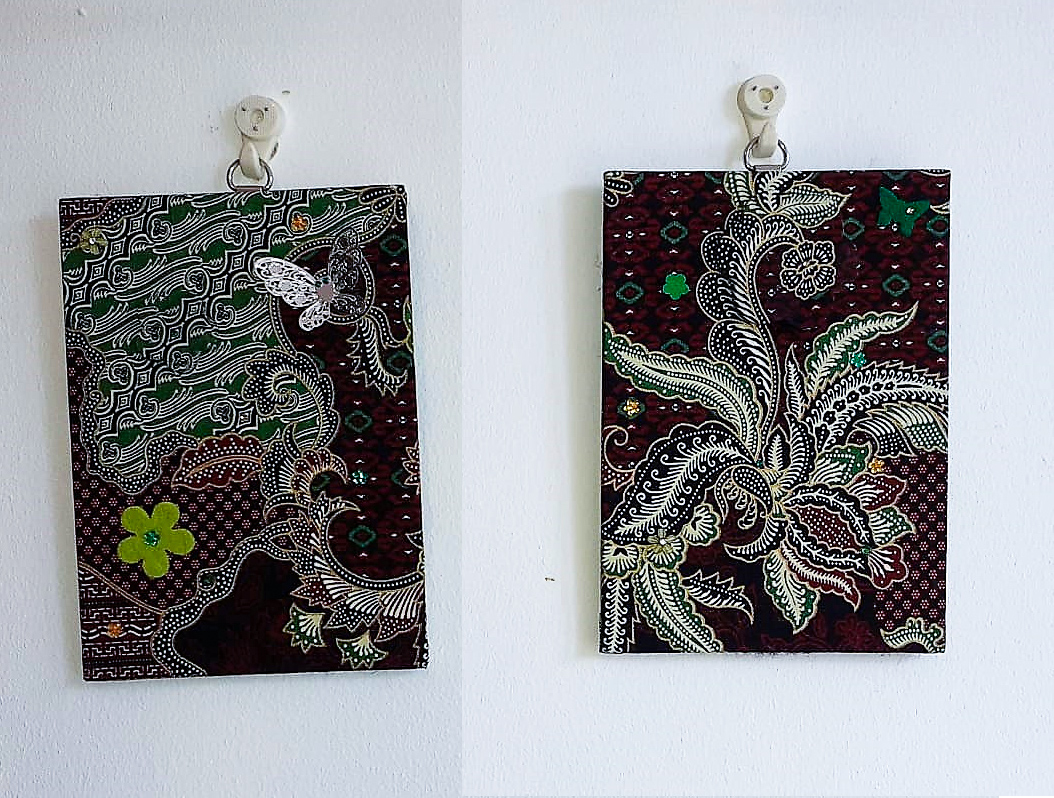 Wall-art Fabric decorated – Small set green-brown-black