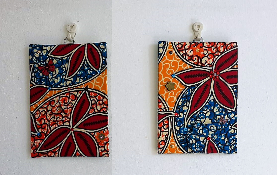 Wall-art Fabric decorated – Small set red flowers