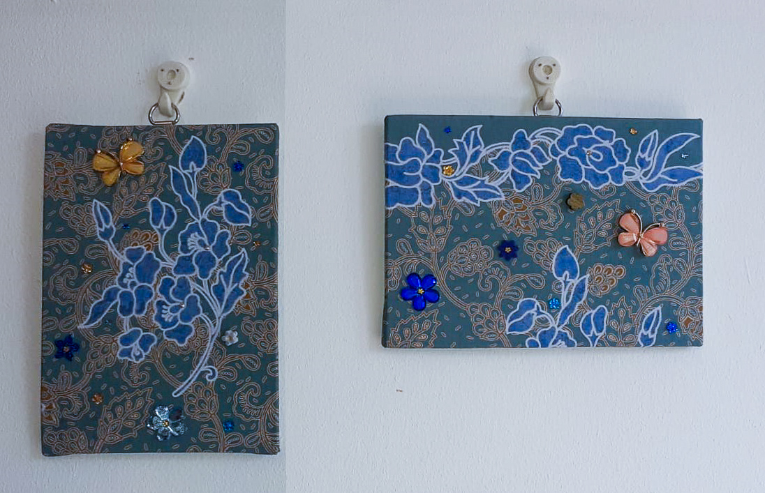 Wall-art Fabric decorated – Small set blue flowers