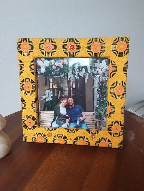 Double photo frame box - Yellow with circles