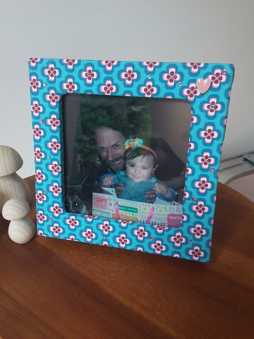 Double photo frame box - blue and red flowers