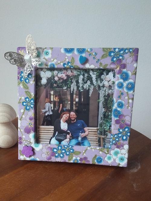 Box photo frame box - Purple mini flowers