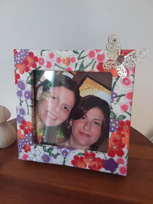 Box photo frame box - Orange/red mini flowers