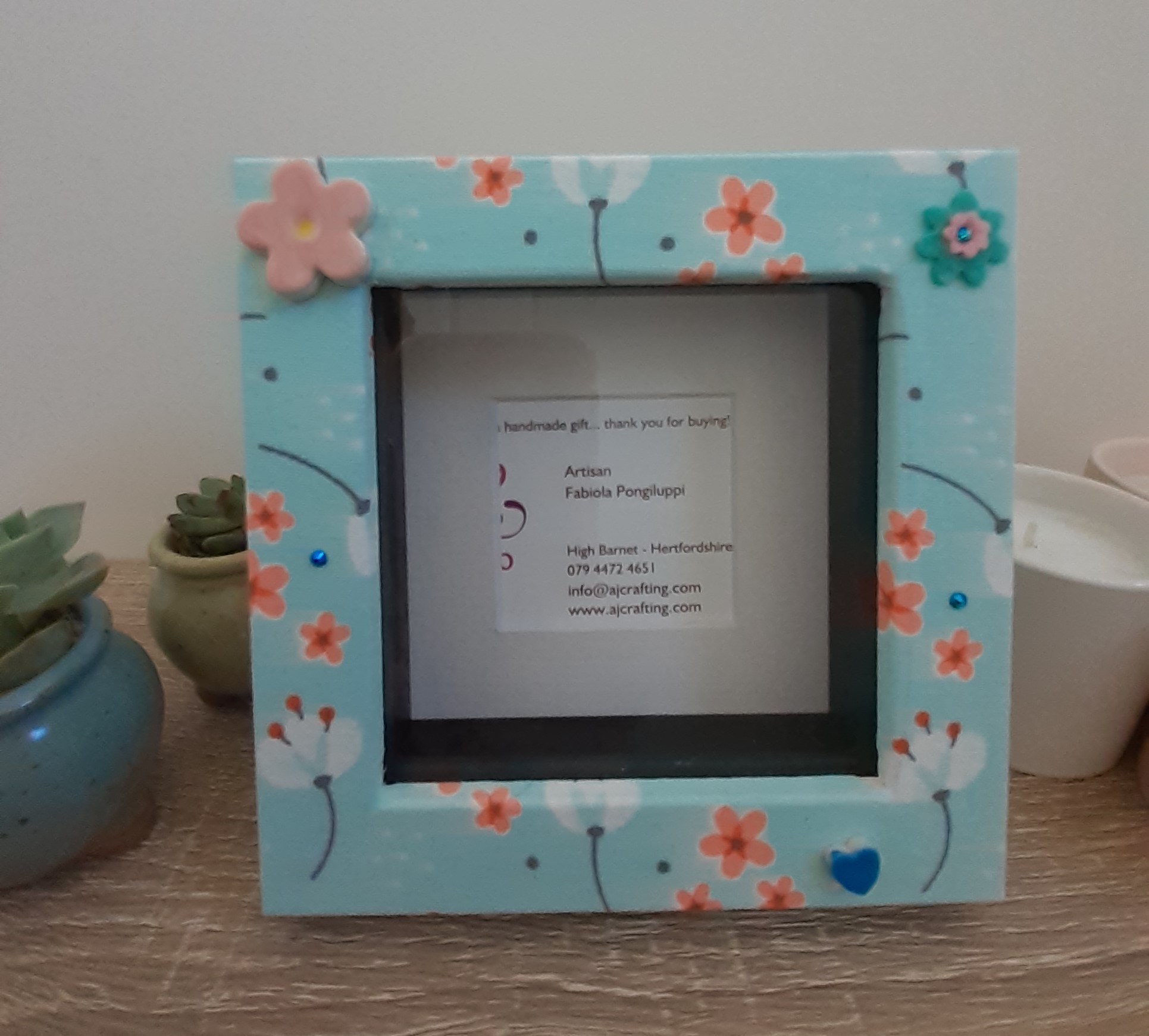 Double photo frame box - Baby blue and flowers