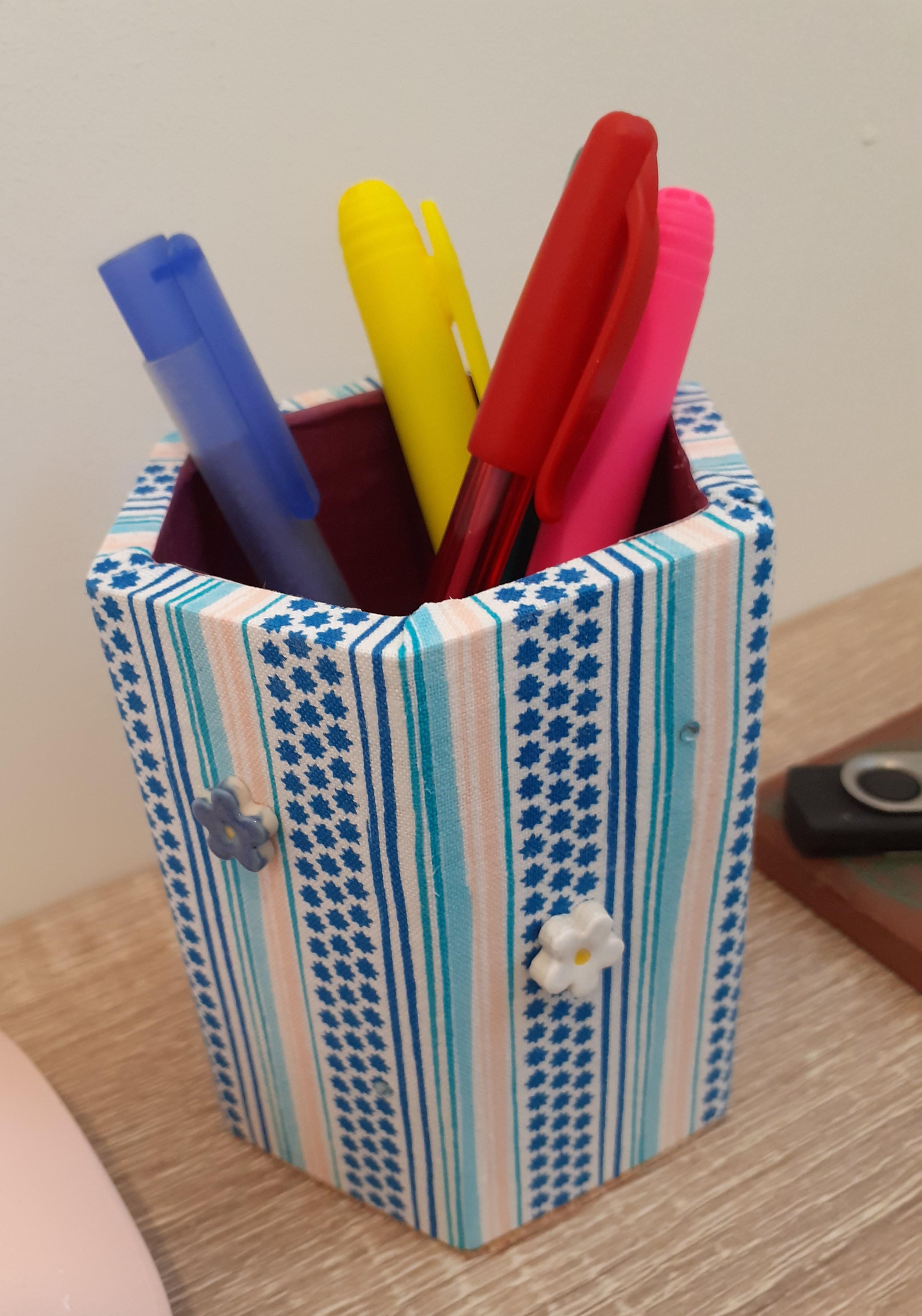 Wood Pen Holder - blue-white stripes