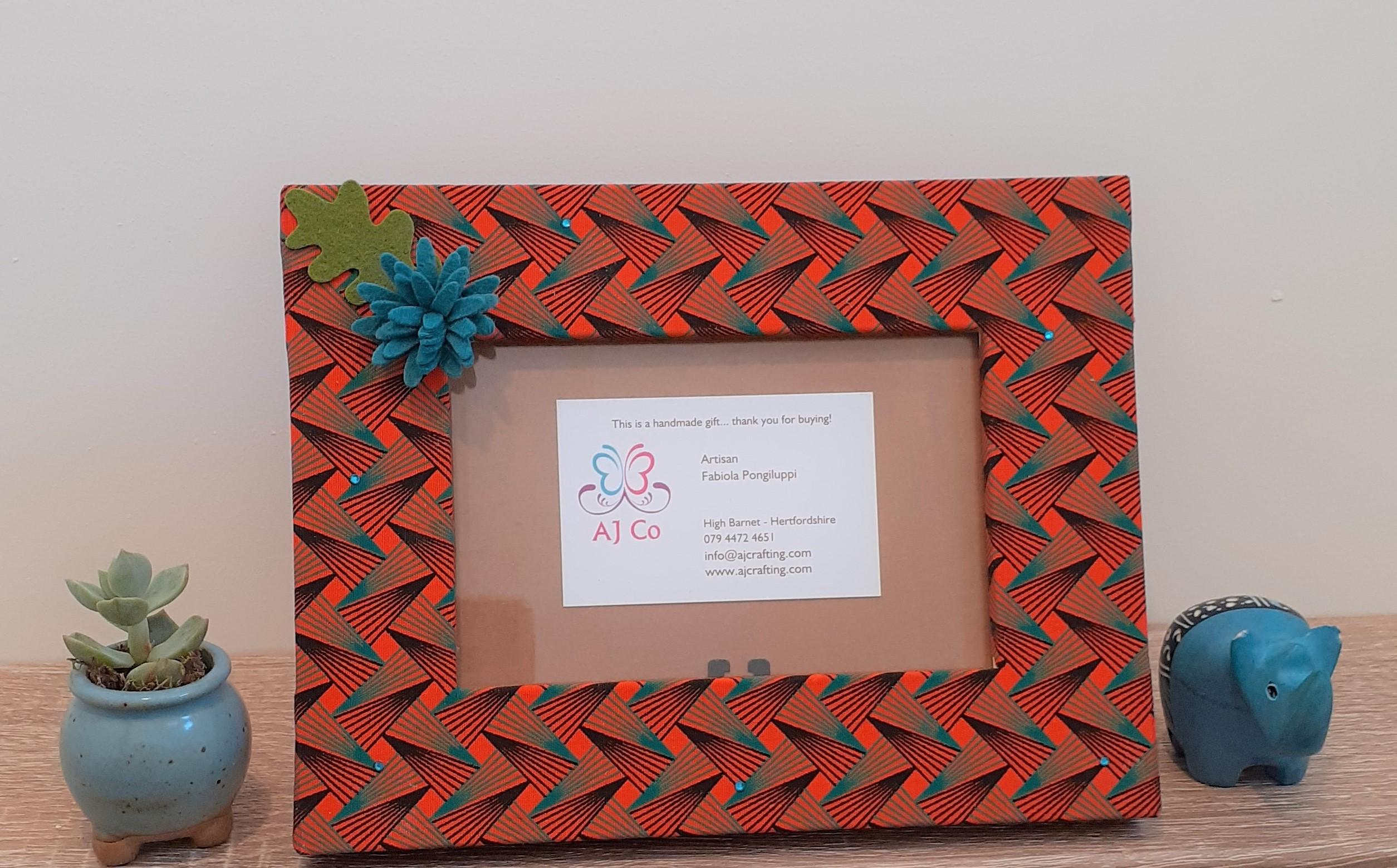 African fabric geometric print blue flower