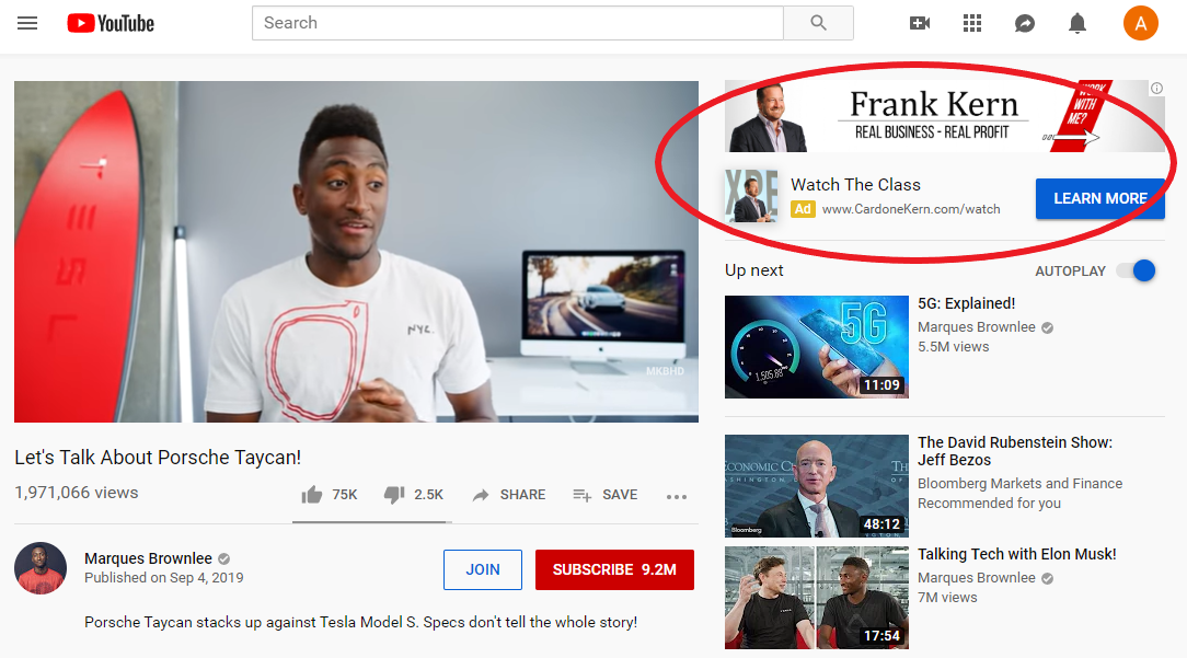 display ad on youtube