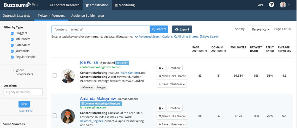 BuzzSumo influencer search
