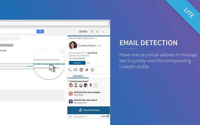Use LinkedIn Sales Navigator Lite to detect emails with LinkedIn profiles