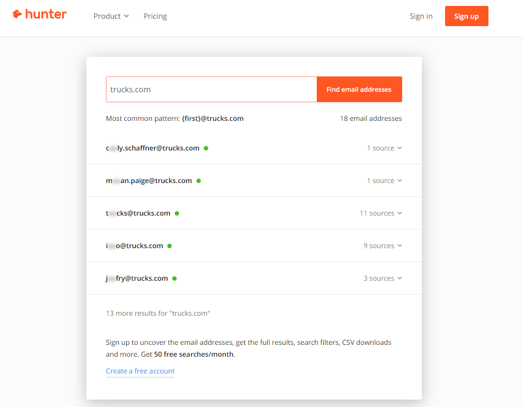 Email finder tool hunter.io