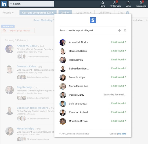 Use Skrapp for bulk email exports from LinkedIn