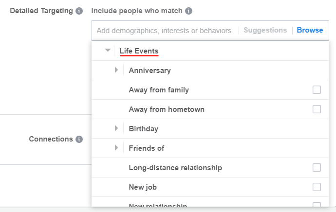 Show ads to people experiencing a particular life event