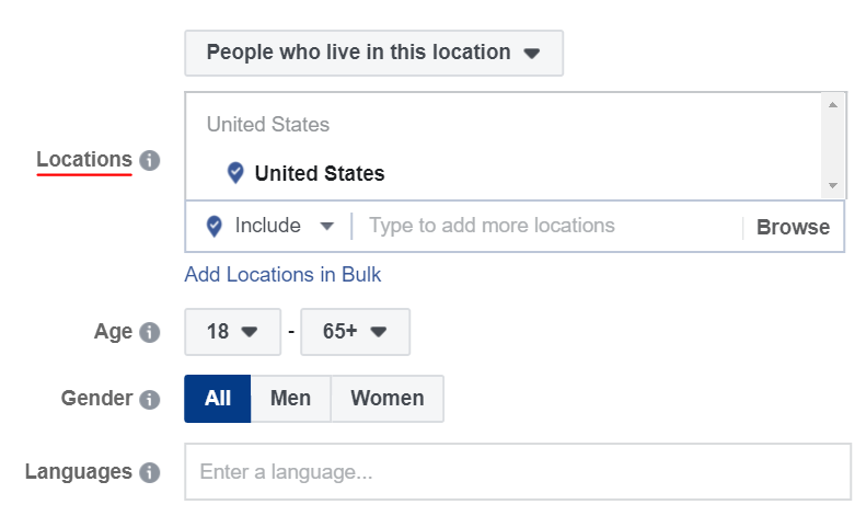 filter your targeting by location